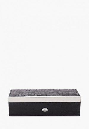 Шкатулка для украшений Moretto часов. Цвет: черный