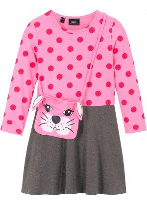 Платье и сумка для девочки (2 изд.) bonprix. Цвет: ярко-розовый
