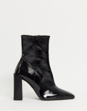 Черные лакированные кожаные полусапожки на каблуке -Черный ASOS DESIGN