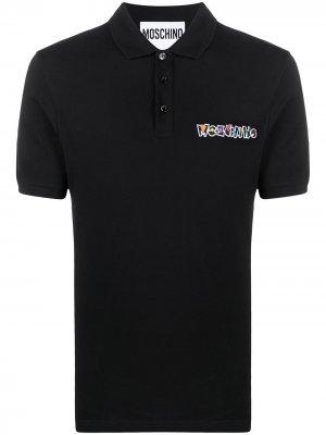 Рубашка поло с вышитым логотипом Moschino. Цвет: черный