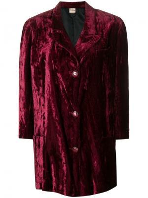 Бархатное пальто прямого кроя Krizia Pre-Owned. Цвет: розовый