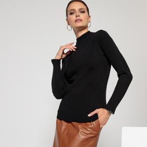 Пуловер с воротником-стойкой и длинными рукавами из трикотажа в рубчик ANNE WEYBURN. Цвет: серый меланж,черный,экрю