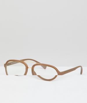 Очки-авиаторы с прозрачными стеклами в золотистой оправе AJ Morgan. Цвет: золотой