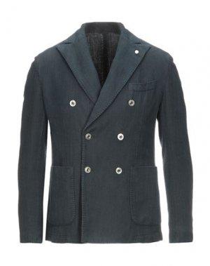 Пиджак LUIGI BIANCHI ROUGH. Цвет: темно-синий