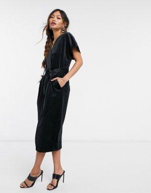 Черное бархатное платье миди с рукавами кимоно и запахом -Черный Closet London