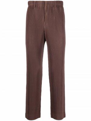 Плиссированные брюки прямого кроя Homme Plissé Issey Miyake. Цвет: коричневый