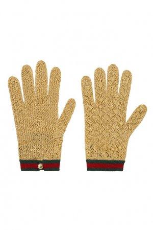 Перчатки с люрексом и полосами Web Gucci. Цвет: золотой