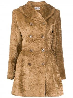 Фактурное двубортное пальто Alaïa Pre-Owned. Цвет: коричневый