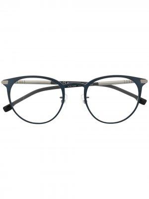 Солнцезащитные очки в круглой оправе Boss Hugo. Цвет: синий