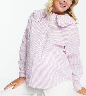 Сиреневая рубашка в полоску с широким воротником оборками -Многоцветный Pieces Maternity