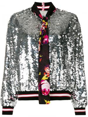 Куртка-бомбер с пайетками MSGM. Цвет: золотистый
