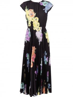 Плиссированное платье с цветочным принтом Jason Wu Collection. Цвет: черный