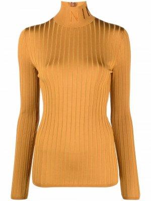 Джемпер в рубчик с высоким воротником Nina Ricci. Цвет: коричневый