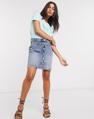Джинсовая мини-юбка на пуговицах -Голубой b.Young