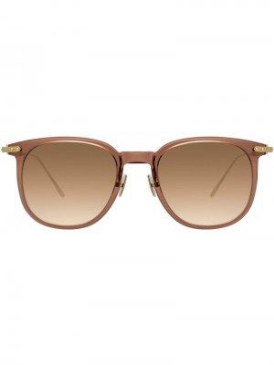 Солнцезащитные очки в квадратной оправе Linda Farrow. Цвет: коричневый