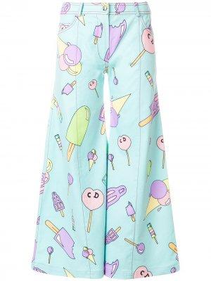 Расклешенные брюки с принтом Christian Dior. Цвет: синий