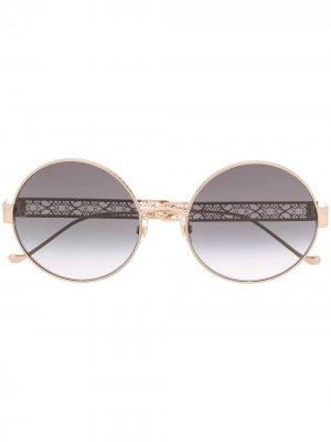 Солнцезащитные очки в круглой оправе Elie Saab. Цвет: золотистый