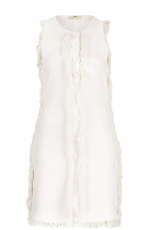 Мини-платье прямого кроя с бахромой Edun. Цвет: кремовый