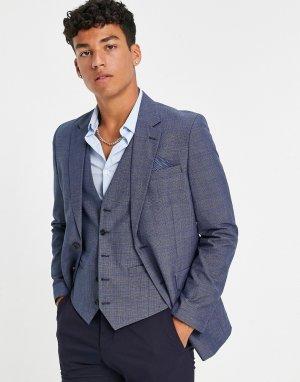 Синий пиджак узкого кроя в клетку Burton-Голубой Burton Menswear