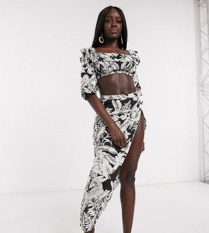 Пляжная юбка от комплекта с тропическим принтом и запахом -Мульти Anmol