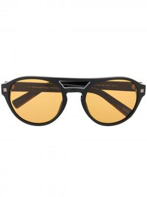 Солнцезащитные очки в круглой оправе Ermenegildo Zegna. Цвет: черный