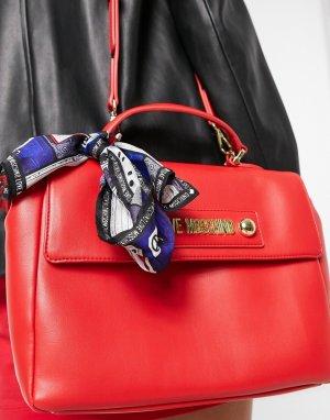 Красная сумка-портфель с шарфом -Красный Love Moschino