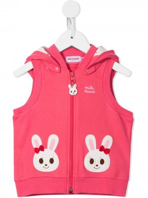 Embroidered hooded cotton gilet Miki House. Цвет: розовый