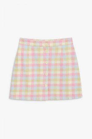 Мини-юбка из хлопка Monki. Цвет: розовый, разноцветный