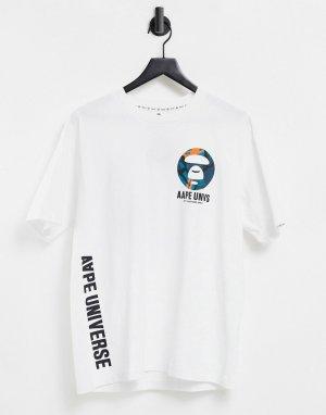 Белая футболка с принтом на спине AAPE By A Bathing Ape-Белый APE®