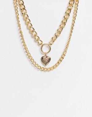 Золотистое ожерелье в несколько рядов с подвеской виде сердечка и массивной цепочкой Topshop-Золотистый EGO