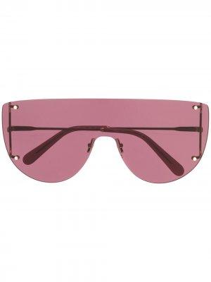 Солнцезащитные очки-маска Salvatore Ferragamo. Цвет: золотистый