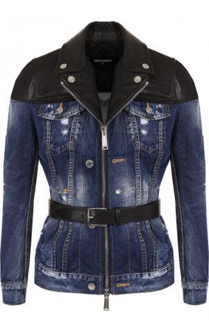 Джинсовая куртка с потертостями и кожаной отделкой Dsquared2. Цвет: синий