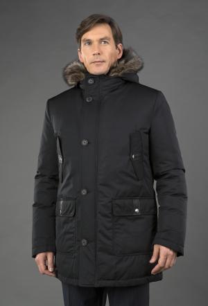 Мужской зимний пуховик на большой размер с мехом мармота AFG. Цвет: черный