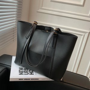 Минималистичная сумка-тоут большей емкости SHEIN. Цвет: чёрный