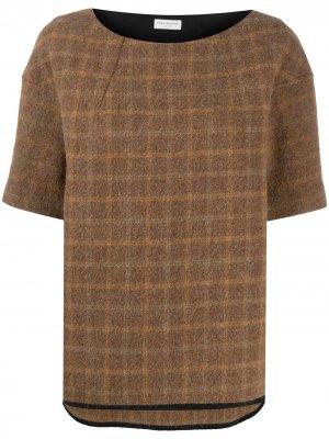 Клетчатая блузка 2000-х годов с короткими рукавами Dries Van Noten Pre-Owned. Цвет: нейтральные цвета