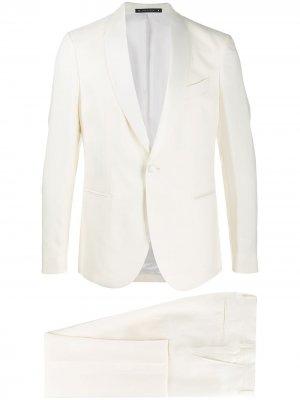 Костюм с однобортным пиджаком Bagnoli Sartoria Napoli. Цвет: белый