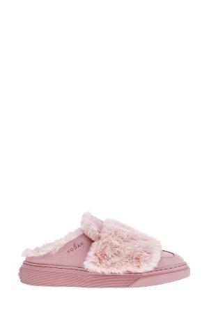 Мюли на массивной подошве из матовой кожи и меха кролика породы Rex HOGAN. Цвет: розовый