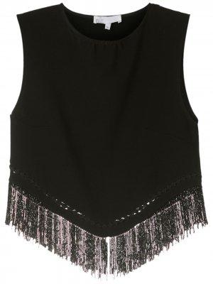 Укороченная блузка с бахромой Nk. Цвет: черный