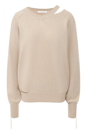 Пуловер из смеси хлопка и шерсти Helmut Lang. Цвет: бежевый