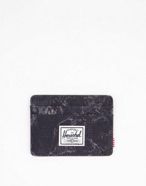 Кошелек для пластиковых карт черного цвета с мраморным эффектом Charlie-Черный цвет Herschel Supply Co