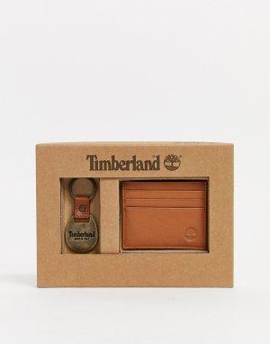 Подарочный набор из кошелька для карт и брелока ключей светло-коричневого цвета -Коричневый Timberland
