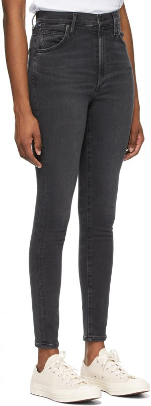 Black High-Rise Chrissy Jeans Citizens of Humanity. Цвет: reflection