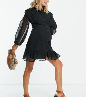 Черное платье-рубашка для кормящих матерей из ткани добби, на пуговицах, с расклешенной юбкой и кружевными вставками ASOS DESIGN Maternity-Черный цвет Maternity