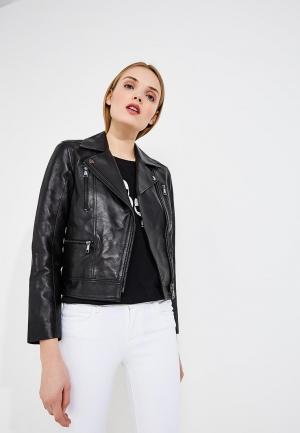 Куртка кожаная Karl Lagerfeld. Цвет: черный