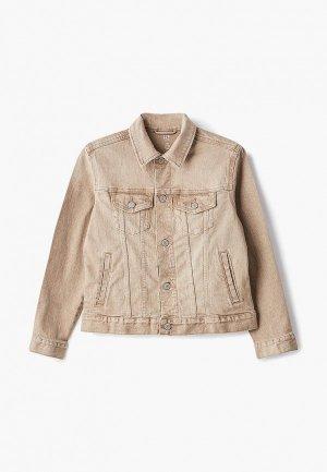 Куртка джинсовая Gap. Цвет: бежевый