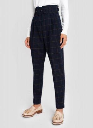 Зауженные брюки в клетку с пуговицами O`Stin. Цвет: темно-синий