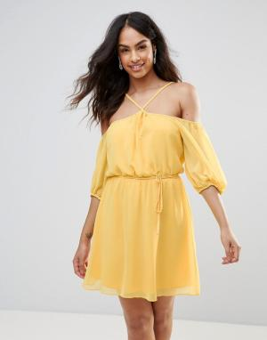 Платье халтер с открытыми плечами BCBG-Желтый BCBG MaxAzria