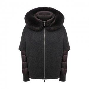 Комплект из шерстяной накидки и пуховой куртки Moorer. Цвет: серый