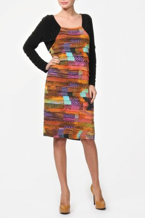 Платье TIA. Цвет: черный, мульти
