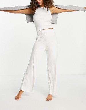 Очень мягкие домашние брюки цвета экрю в рубчик, с широкими штанинами Mix & Match-Белый ASOS DESIGN
